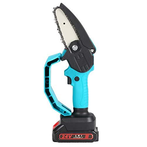 Festnight Mini sierra de podar eléctrica portátil de 24 v y 4 pulgadas,motosierra de división de madera pequeña recargable,herramienta de carpintería con una mano para clip de rama de huerto de jardín