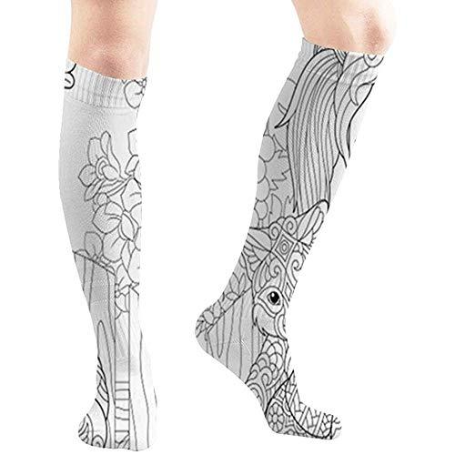 zzzswbl Compression Socks Malvorlagen Bücher Färben Tiere Wildtiere Menschen Frauen 50Cm Walking Long Hose Strümpfe Yoga Man Compression Socks Hohe Stiefel