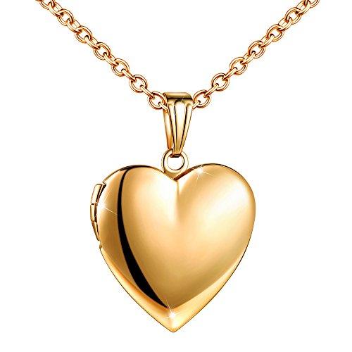 MicLee Damen Kette Foto Herz Medaillon Photo Bilder Amulett Gold Edelstahl Anhänger Halskette mit Geschenkbox Grußkarte, Super Geschenk für Paar Pärchen Mutter Tochter