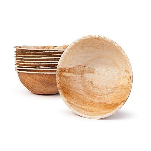 BIOZOYG Umweltfreundliches Einweggeschirr aus Palmblättern | 200 Stück Palmblatt Schale rund 425ml Ø15cm | Salat-Schüssel Dipschalen Suppenschale Servierschale Snackschale Einwegschale