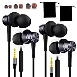 2 Pack Ear Buds with mic - Ergonomic in Ear Metal housing Earphones, Deep Bass Earbuds for Laptop Computer Chromebook Phones with AUX inc. Carry Pouches and Extra Tips
