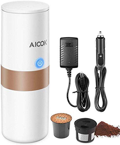 AICOK Portable Coffee Maker, Electric Travel Coffee Maker Compatible with K-Cup Capsule & Ground Coffee, Filter Coffee Machine and Tea Maker for Camping, Travel, Home & Office, Heating by Car Charger