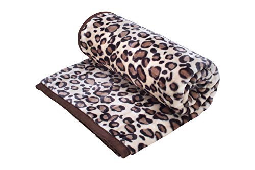 HAFIX Kuscheldecke Tagesdecke Wolldecke Überwurfdecke in 200x240cm Leopard, für wohlige Wärme auf dem Sofa und im Bett aus 100% Polyester