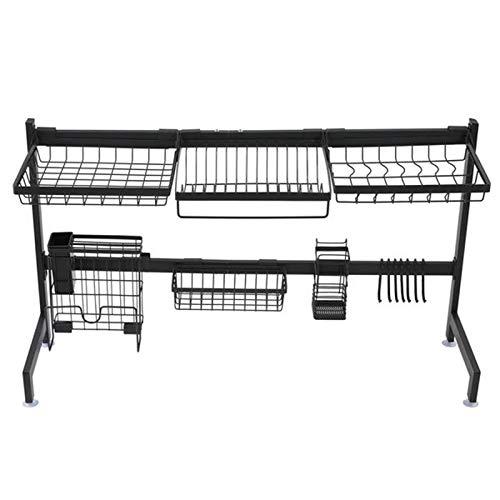WANZPITS Cesta de alambre de una sola capa de acero inoxidable, estante para encimera, estante de cocina, estantes de acero inoxidable, estante de pared de cocina, estante de cocina negro 92 cm, negro