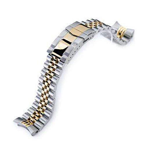 Cinturino per orologio Strapcode 22mm Super Jubilee in acciaio inossidabile 316L per Seiko SKX007, oro IP bicolore con chiusura 2M Submariner