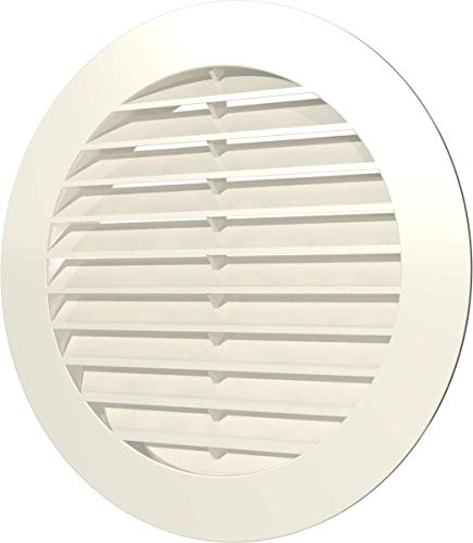 Vent Cover - Round Soffit Vent - Air Vent Louver - Grille Cover HVAC Ventilation - Plastic with Larger Outer Diameter (6'' Inch, Ivory)