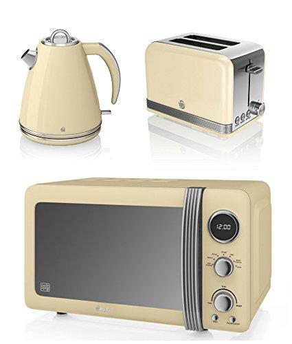 NEW Swan Kitchen Appliance Retro Set - CREAM Digital 20L Microwave, CREAM 1.5 Litre Jug Kettle & CREAM Retro Stylish 2 Slice Toaster Set