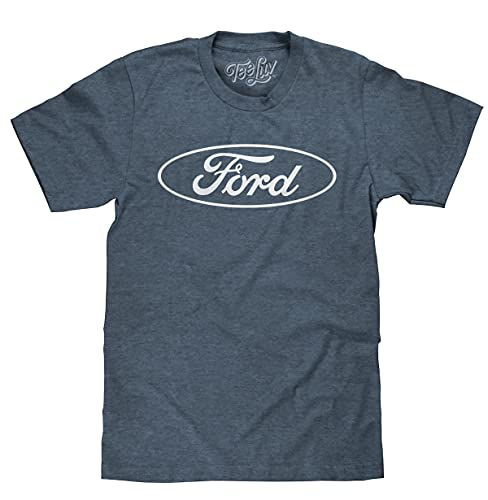 Tee Luv Men's Ford Logo Shirt (Indigo-Black Heather) (M)