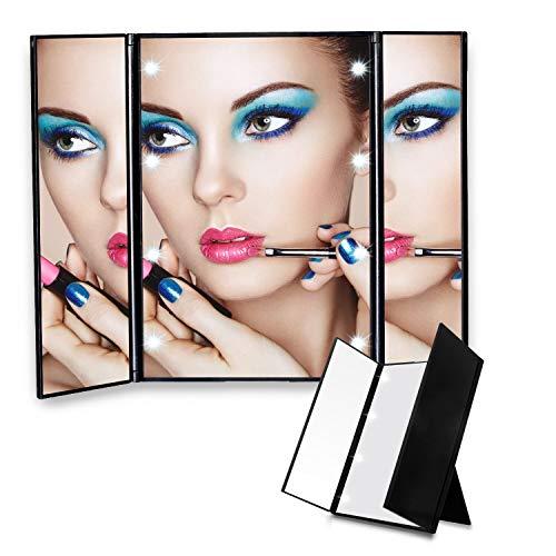 Miroir de maquillage, Poche de voyage pliable avec éclairage naturel à LED Tri-Fold pour maquillage cosmétique et miroir de maquillage,Black