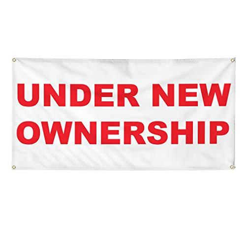Vinyl Banner Multiple Sizes Under New Ownership Red Business Outdoor Weatherproof Industrial Yard Signs 4 Grommets 12x30Inches