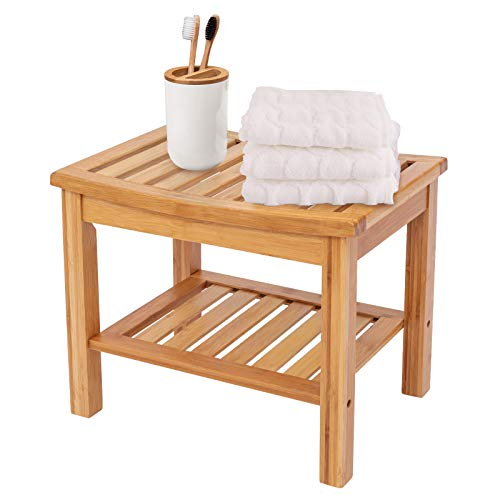 Luckore Bamboo Shower Stools and Benches, Shower Stools and Benches with Storage Shelf, Waterproof Shower Seats for Elderly, Adult Seniors,Perfect Bamboo Shower Bench for Small Spaces, Indoor Outdoor