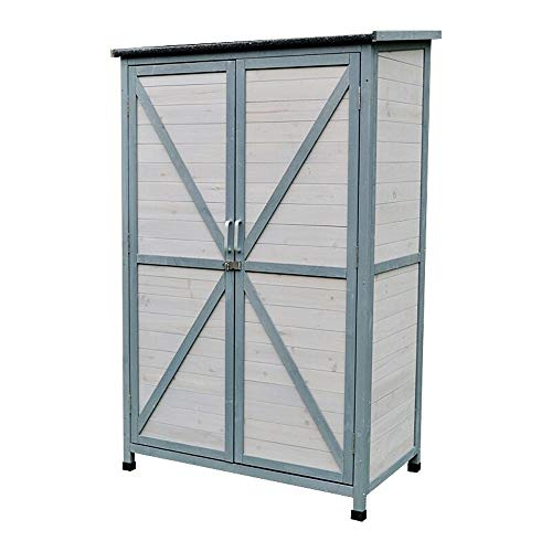 DHTOMC Outdoor Storage Box Outdoor Wooden Tool Shed Storage Cabinet 2-Door Sun And Waterproof Tilt Roof For Balcony Garden Box (Color : Gray, Size : 100x60x160cm)
