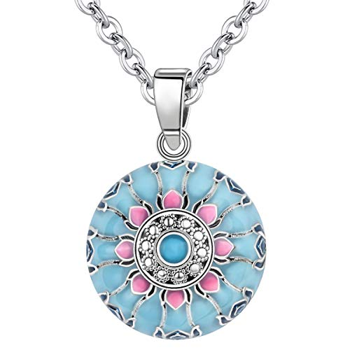 AEONSLOVE Chime Ball Pendant Necklace Music Wishing Vintage Flower Bola for Pregnancy Mom Baby Best Jewellery Gift
