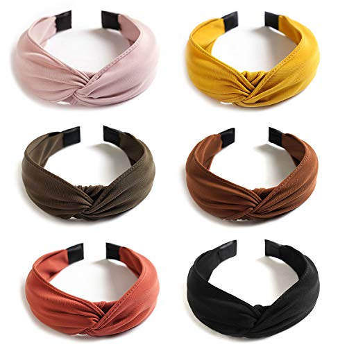 6 Pack Wide Plain Headbands,Unime Twist Knot Turban Headband Yoga Hair Band Fashion Elastic Hair Accessories for Women and Girls,Children 6 Colors -  NHB