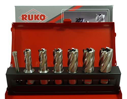 RUKO Kernbohrer-Set HSS Weldonschaft 7tlg. Ø 12-14-16-18-20-22mm + Austreiber