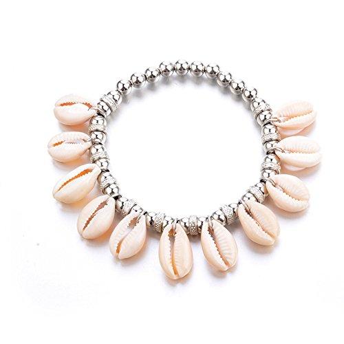 Coquillage Perles Chaîne de Pieds,Nourich Alliage Chaîne de cheville Shell Gland Pendentif Chaîne de perles Boheme Barefoot Chic fait à la main Été Plage Fête Accessoires (A)