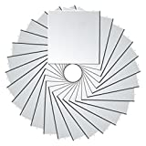 PP OPOUNT 27 PCS 3.9 x 3.9 Inch Self-Adhesive Mosaic Mirror Tiles Square Glass Mirrors Mosaic Sticker for DIY Craft Decoration , Sliver(9 Pieces in 1 Sheet Total 27 Pieces )