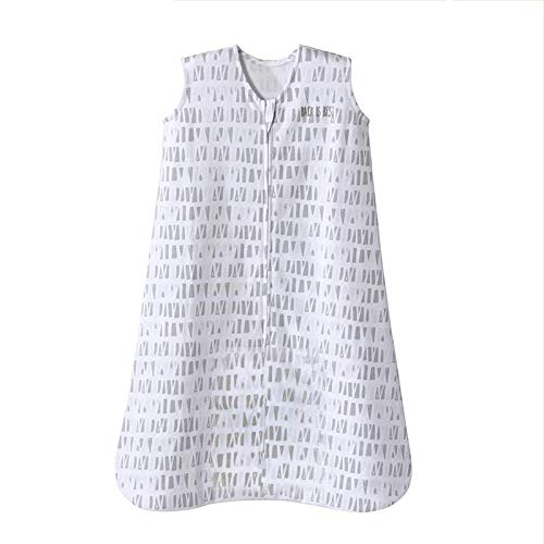 Halo Sleepsack Cotton Wearable Blanket, Squares and Triangles, Grey, Large