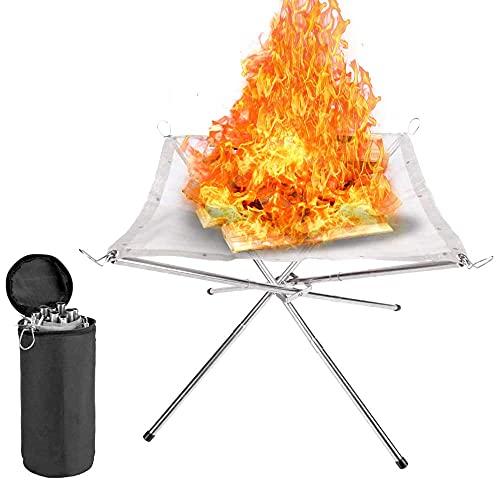Traciya Chimenea plegable de malla de acero inoxidable para exteriores, portátil, 16,5 pulgadas, plegable, para pícnic, hoguera, leña, para viajes, camping