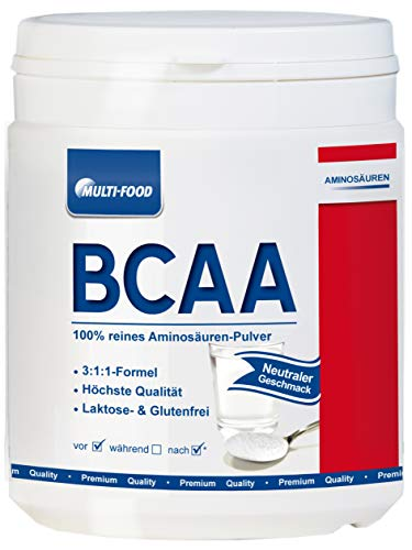 BCAA 3:1:1 Pulver extrem hochdosiert mit den essentiellen Aminosäuren L-Leucin, L-Valin und L-Isoleucin– optimal für den Muskelaufbau, Ausdauer und Leistungssteigerung 50 Portionen 250 g (1x Neutral)