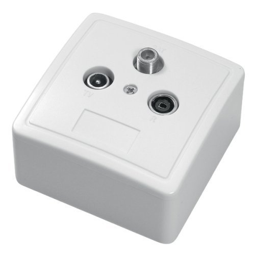 SET 3-voudige antenne-contactdoos (SAT/TV/radio), steek-/einddoos DC-doorgang (3-vaks antennedoos)