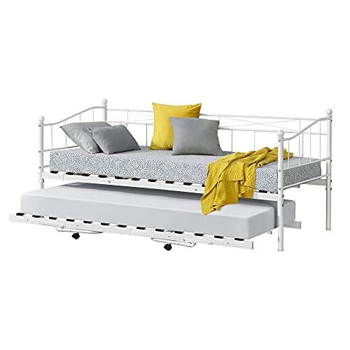 [en.casa] Cama de Metal Skutskär 211,5 x 95 x 95 cm 4 Ruedas con Espacio Adicional hasta 150 kg y 100 kg Cama Doble Blanco Mate
