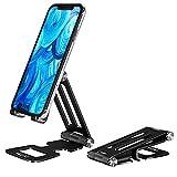 VECUU Handy Ständer, Faltbarer Aluminium-Handyhalterung, Multi-Winkel Verstellbarer Doppelachsen-Tablet-Halter Phone Stand für iPhone 12 Mini, 12 Pro Max, 11 Pro XS X 8 7 6, Samsung Galaxy, Huawei