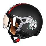 Sportinents Casco Motocicleta Casco Cara Abierta Scooter 3/4 Casco ECE Aprobado Harley Black Route 66 XL