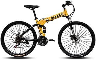 دراجة جبلية قابلة للطي 21 سرعة للكبار من الجنسين من MACCE ، عجلة مدببة 26 بوصة ، أصفر ، مقاس L
