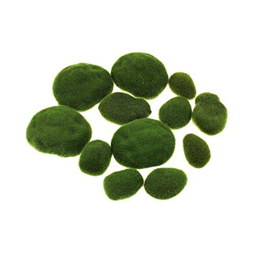 künstliche Moos-Steine, dekorative Steine für Blumenarrangements, Garten, Terrarien und Basteleien, 12 Stück, größensortiert
