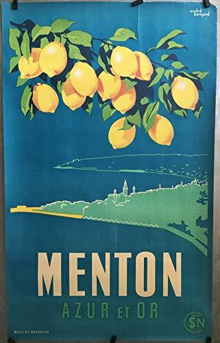 Menton Poster, Zitrone, Kunstdruck, Format 50 x 70 cm, Papier, 300 g, Verkauf der digitalen Datei, HD möglich (Boutique : affichevintage.fr)