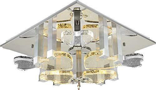 Eurotondisplay 1666 Plafonnier LED avec cœurs en cristal et bulles d'air avec télécommande Couleur de la lumière (blanc chaud, blanc neutre, blanc froid) commutable séparément A+ 1666V60*60cm 96W