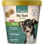 NaturVet – No Toot Gas Aid For Dogs Plus Fennel – 70 Soft Chews – Alleviates Intestinal Gas – Helps Reduce Stool & Urine Odors – 30 Day Supply
