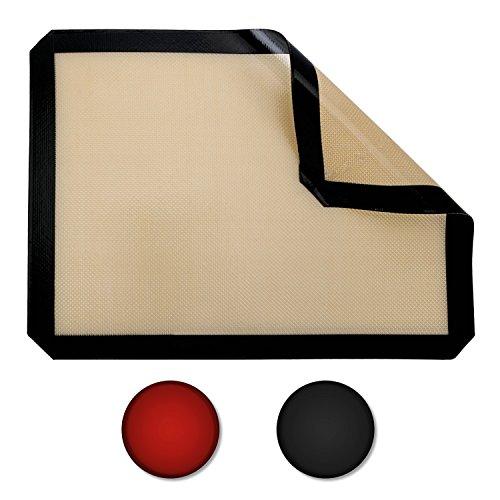 Belmalia Silicone Cuisson Tapis Plaques Réutilisable Anti-adhésif Fibre de Verre 40x30 cm Noir