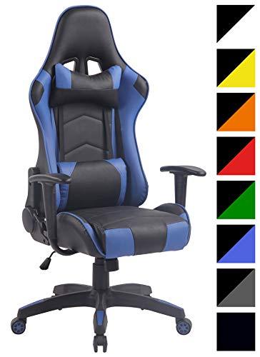 CLP Silla Racing Miracle V2 en Cuero PU I Silla Gaming Regulable en Altura I Silla Gamer con 2 Cojines Removibles I Silla Ordenador I Color: Negro/Azul