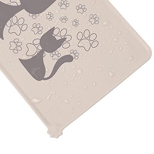 Silikon Hund Katze Futternapf Matte Haustier Wasserdicht Hund Katze Futternapf Matte rutschfeste Hundematte für Napf (Latte, Katze)