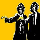 Divertido mono plátano lienzo pintura arte de la pared cartel graffiti arte animal arte de la pared pintura decoración de la habitación de los niños