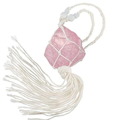 Amogeeli Cuarzo rosa en bruto, piedra de cristal trenzada, decoración colgante, amuleto de la suerte, piedra Feng Shui, decoración colgante para ventana, coche, salón, jardín