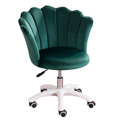 Moderna silla de oficina para el hogar con soporte lumbar y cojín acolchado, silla ergonómica de terciopelo para computadora de escritorio, silla giratoria para el trabajo en el hogar - verde oscuro