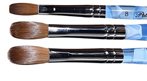 Blue Marble Petal Kolinsky Acrylic Manicure Powder Nail Brush (CRIMPED) vh-14521-5
