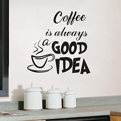 El café siempre es una buena idea Cita etiqueta de la pared cocina café tienda ventana calcomanía de vinilo taza de café extraíble arte mural decoración del hogar etiqueta de la pared A4 42x42cm