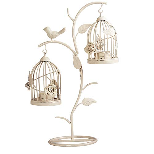 Moroccan Style Candle Stick Candleholder Vintage Tea Light Candle Holder Hollow Bird Cage Candlestick Wedding Decor Gifts (White, M)