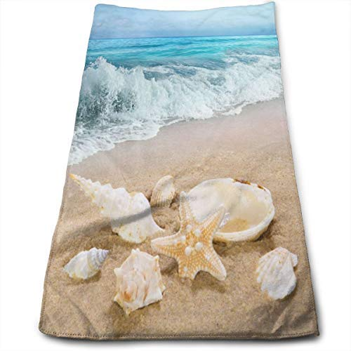 nobran Ocean Sea Wave Hand Towel Kitchen Beach Seashell Starfish Decorative Towel for Bathroom Ultra Soft Highly Absorbent Bath Towel 27.56 X 11.81 in