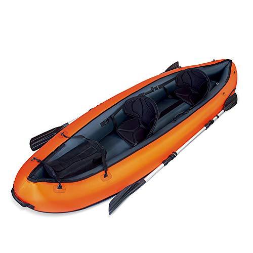 FZTX-LPX Outdoor Doppel Rafting Schlauchboot Gummiboot Angriffsboot Kajak Kanu mit Boot Paddel Luftpumpe, Wasserspielzeug für Erwachsene und Kinder