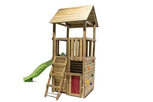 MASGAMES | Parque Infantil Canigo L con caseta (Duplex) | Pared de Escalada | tobogán con Conector a Manguera | Plataforma 120 cm Altura | Anclajes incluidos | Uso doméstico |