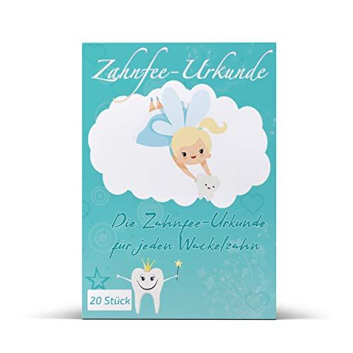 KAMARGO Zahnfee Urkunde (20 Stk) Made in DE I Zahnfee Geschenk für Mädchen & Jungen + 20 Zahnfee Urkunden für alle 20 Milchzähne I Süße Zertifikate als Zahnfee Geschenke für den ersten Wackelzahn