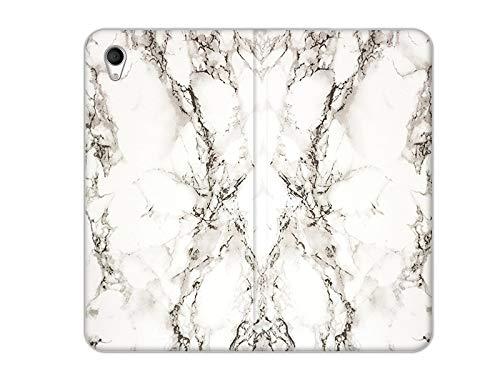 etuo Handyhülle für Sony Xperia M4 Aqua - Hülle, Handy Flip Case - Weißer Marmor