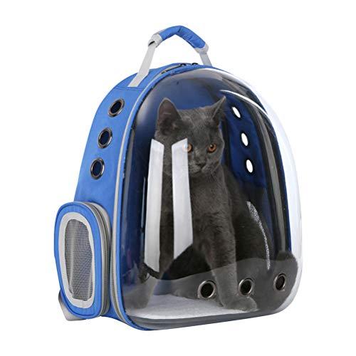 POPETPOP Mochila transportadora de burbujas transparente para mascotas (azul)