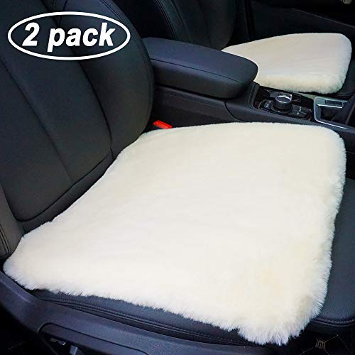 GSPSCN 2 Pack Soft Luxurious Faux Sheepskin Fur Seat Cushion Winter Warm Universal Car Interior Seat Cover (18 inch) Pad Mat Fit Auto, SUV, Truck, Office,Home Chair (Beige)
