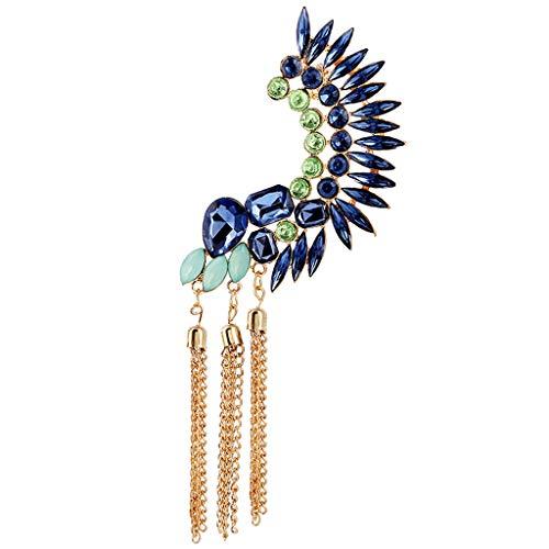 JERKKY Oorbellen 1 stuk Boho lange kwasten oorbellen cuff strass grote zonder clip geperforeerd Oruga blauwe parel